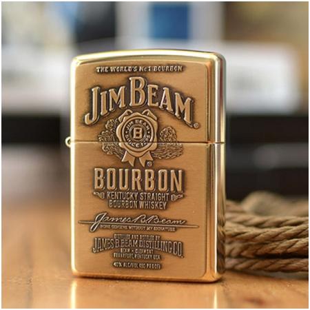 Bật lửa Zippo Mỹ khắc Logo Jim Beam màu vàng - Mã SP: Z029