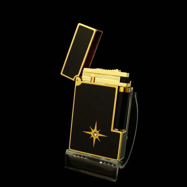 Bật lửa S.T.Dupont sơn mài đen viền vàng họa tiết đính đá - 0988 00 11 31