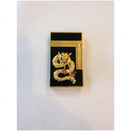 Bật lửa S.T.Dupont sơn mài đen viền vàng rồng nổi đính đá - Mã SP: BLD128