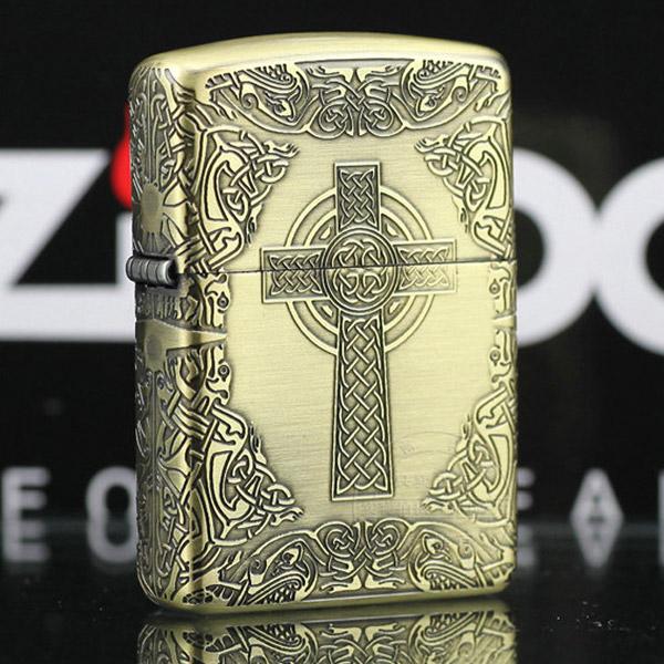 Bật lửa Zippo Mỹ khắc hình chữ thập - 0988 00 11 31