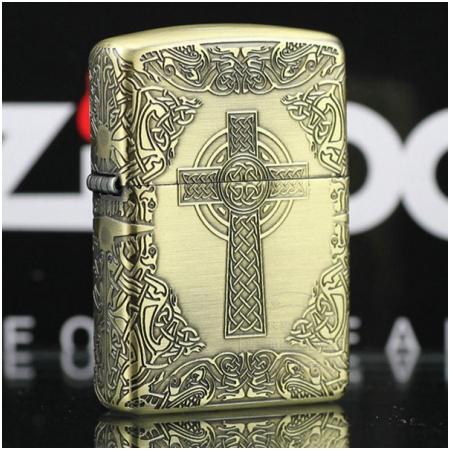 Bật lửa Zippo Mỹ khắc hình chữ thập - Mã SP: Z129