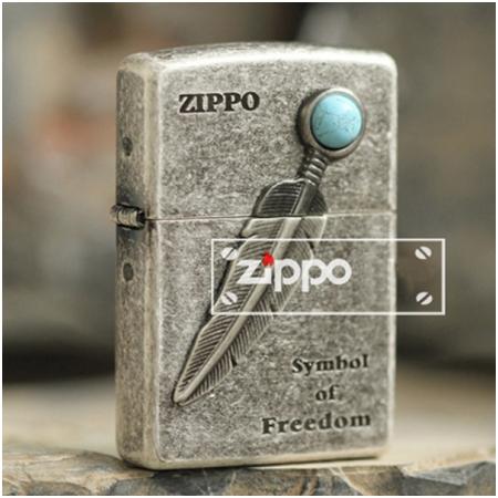 Bật lửa Zippo Mỹ khắc hình lông ngọc - Mã SP: Z137