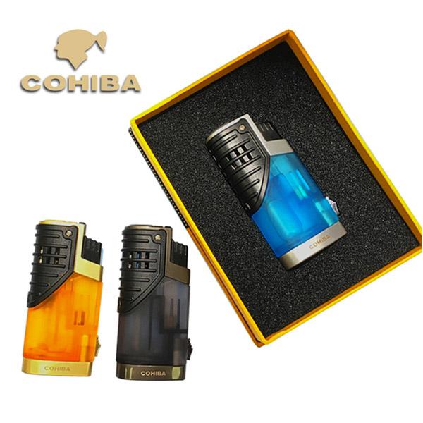 Bật lửa khò hút Cigar Cohiba 3 tia lửa có thiết bị đục Cigar - 0988 00 11 31