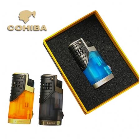Bật lửa khò hút Cigar (xì gà) Cohiba 3 tia lửa có thiết bị đục Cigar - Mã SP: COB002