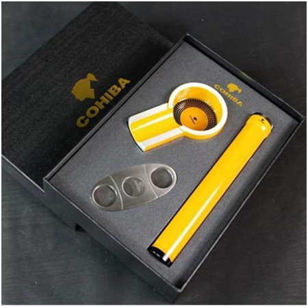 Set gạt tàn xì gà (Cigar), ống đựng xì gà, dao cắt xì gà Cohiba chính hãng - Mã SP: T300