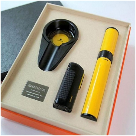 Set gạt tàn Cigar (xì gà), bật lửa xì gà, ống đựng xì gà Cohiba - Mã SP: T308