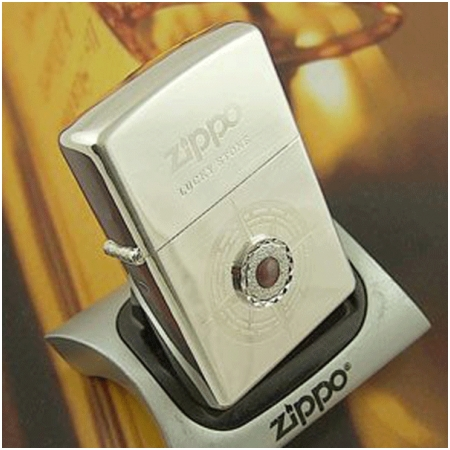 Bật lửa Zippo Mỹ màu trắng bạc đính đá tím - Mã SP: Z116
