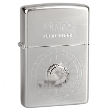 Bật lửa Zippo Mỹ màu trắng bạc đính đá trắng - Mã SP: Z117