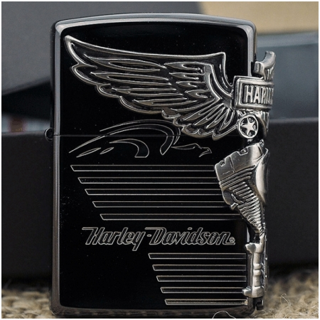 Bật lửa Zippo Mỹ màu đen bản Harley động cơ - Mã SP: Z125