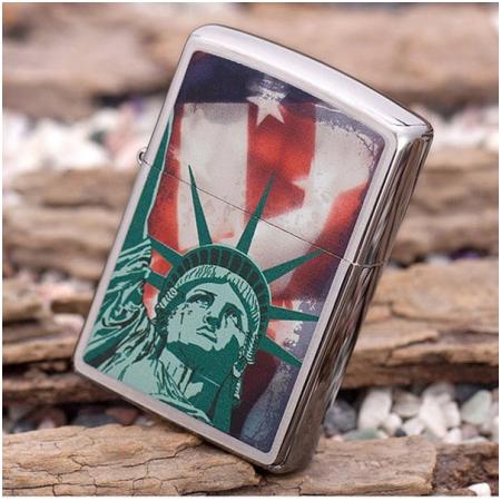 Bật lửa Zippo Mỹ in hình nữ thần tự do - Mã SP: Z032
