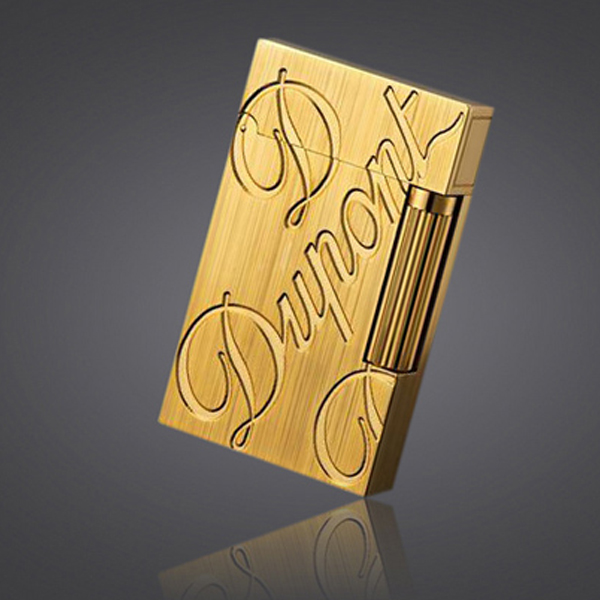 Bật lửa S.T.Dupont gold vàng xước khắc chữ S.T.Dupont - Mã SP: BLD 025