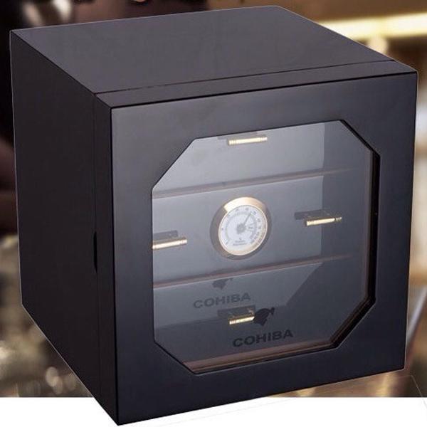 Hộp giữ ẩm Cigar chính hãng Cohiba 3 ngăn có trang bị đồng hồ đo độ ẩm - 0988 00 11 31