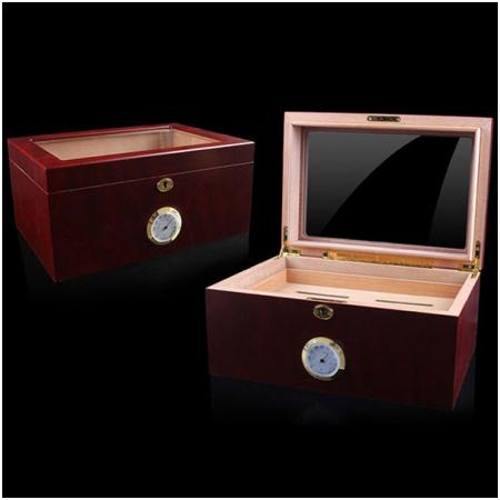 Hộp giữ ẩm Cigar (xì gà) Cohiba mặt kính có khóa cao cấp- Mã SP: H689