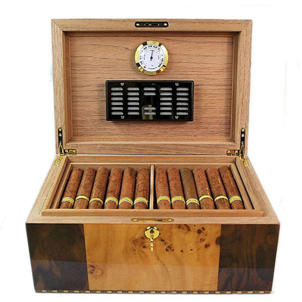Hộp giữ ẩm Cigar Cohiba chất liệu gỗ tuyết tùng có đồng hồ đo độ ẩm - 0988 00 11 31