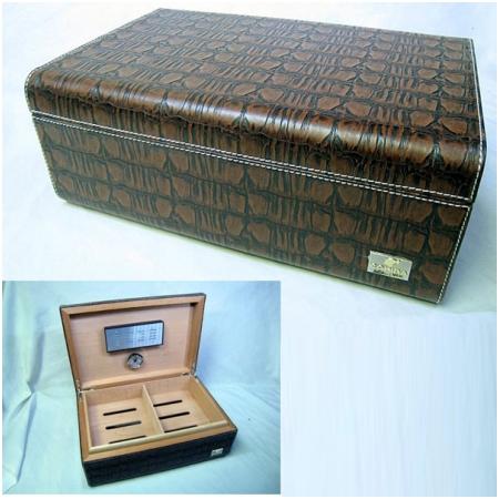 Hộp giữ ẩm Cigar (xì gà) Cohiba chất liệu da và gỗ cao cấp - Mã SP: H338