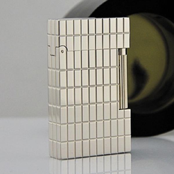 Bật lửa S.T.Dupont trắng bạc kẻ ô chữ nhật - 0988 00 11 31