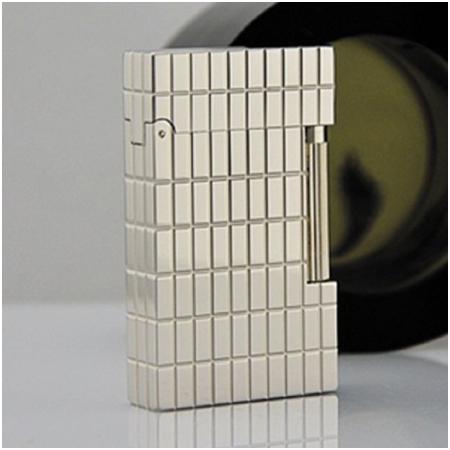 Bật lửa S.T.Dupont trắng bạc kẻ ô chữ nhật - Mã SP: BLD032