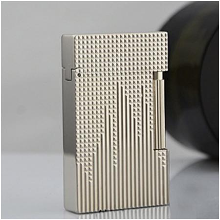 Bật lửa S.T.Dupont trắng bạc kẻ caro sóng lên - Mã SP: BLD033