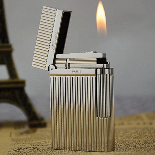 Bật lửa S.T.Dupont màu trắng bạc sọc đứng - 0988 00 11 31