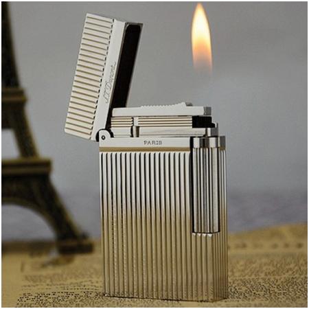 Bật lửa S.T.Dupont màu trắng bạc sọc đứng - Mã SP: BLD035