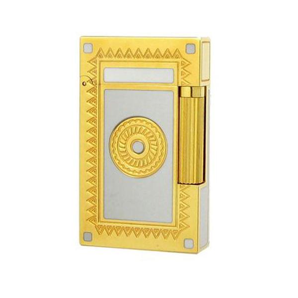 Bật lửa S.T.Dupont trắng viền vàng hoa văn tròn - 0988 00 11 31