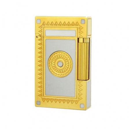 Bật lửa S.T.Dupont trắng viền vàng hoa văn tròn - Mã SP: BLD039