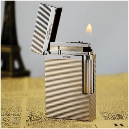 Bật lửa S.T.Dupont trắng bạc sọc kẻ ngang - Mã SP: BLD040