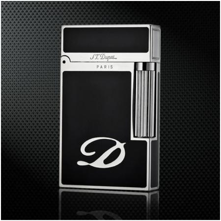 Bật lửa S.T.Dupont màu đen viền trắng bạc khắc chữ D - Mã SP: BLD044
