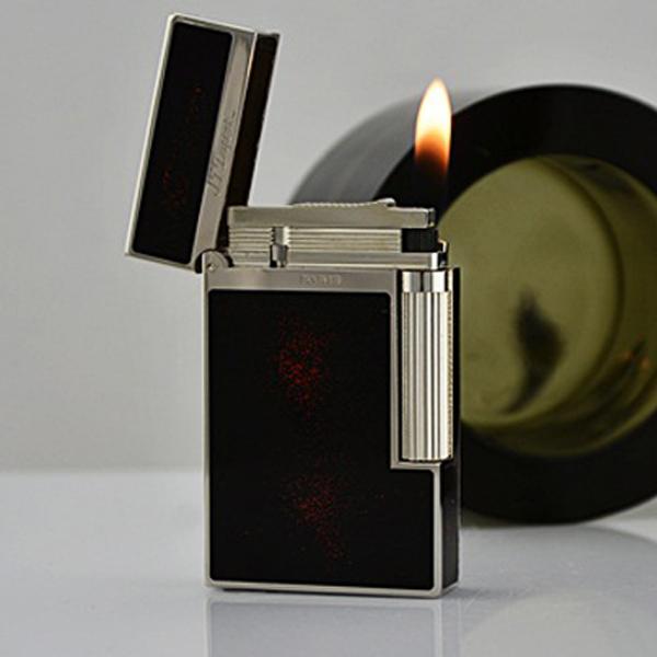 Bật lửa S.T.Dupont sơn mài đen nhũ đỏ viền trắng bạc - 0988 00 11 31