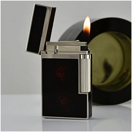Bật lửa S.T.Dupont sơn mài đen nhũ đỏ viền trắng bạc- Mã SP: BLD046