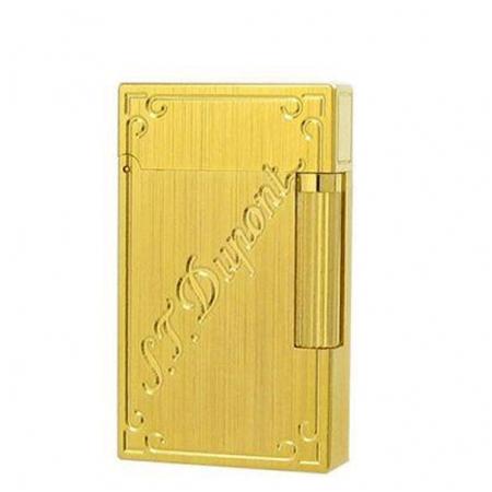 Bật lửa S.T.Dupont vàng xước khắc chữ S.T.Dupont chéo - Mã SP: BLD156