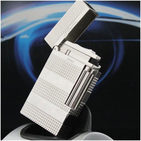 Bật lửa S.T.Dupont trắng bạc kẻ caro nhỏ bốn khúc - Mã SP: BLD159