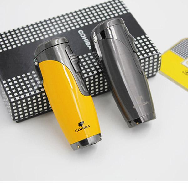 Bật lửa khò hút Cigar Cohiba chính hãng loại 3 tia lửa khò có thiết bị đục xì gà - 0988 00 11 31
