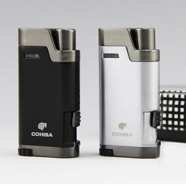 Bật lửa khò hút Cigar Cohiba chính hãng loại 2 tia lửa khò có thiết bị đục xì gà - 0988 00 11 31