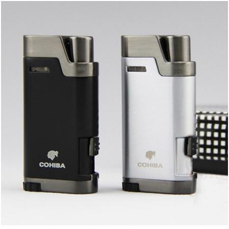 Bật lửa khò hút Cigar (xì gà) Cohiba chính hãng loại 2 tia lửa khò có thiết bị đục xì gà - Mã SP: BLH079