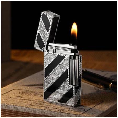 Bật lửa S.T.Dupont sơn mài đen hoa văn bạc chéo - Mã SP: BLD051