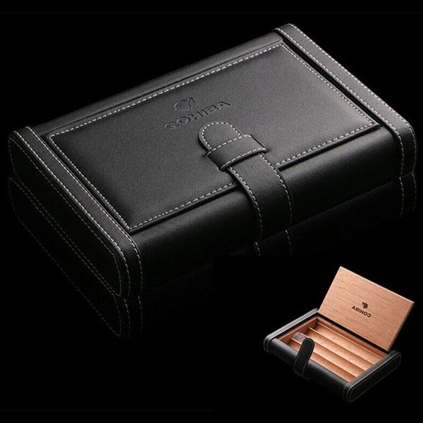 Bao da đựng Cigar Cohiba chất liệu da, gỗ tuyết tùng chính hãng - 0988 00 11 31
