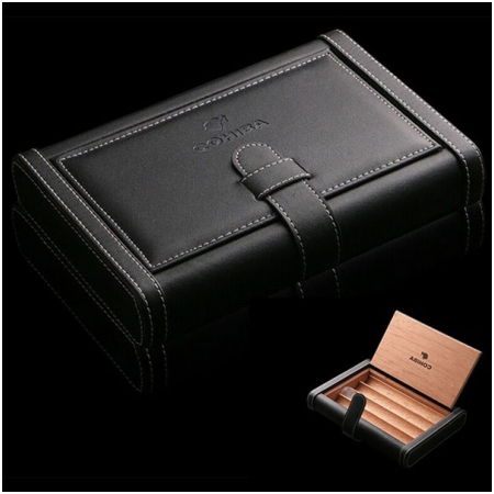 Bao da đựng Cigar (xì gà) Cohiba chất liệu da, gỗ tuyết tùng chính hãng - Mã SP: 0306