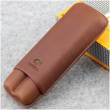 Bao da đựng Cigar (xì gà) Cohiba loại 2 điếu màu nâu chính hãng - Mã SP: 1202L
