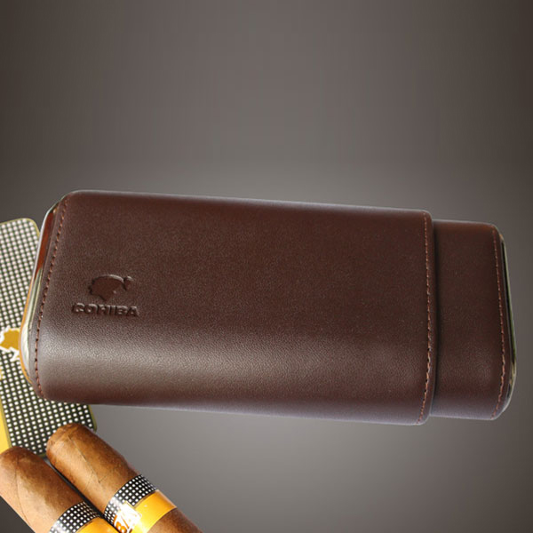 Bao da đựng Cigar Cohiba loại 3 điếu màu nâu chính hãng - 0988 00 11 31