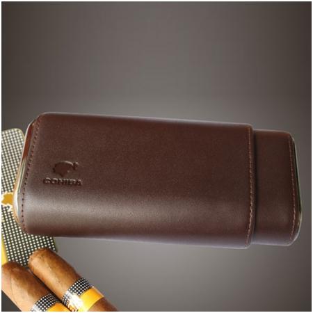 Bao da đựng Cigar (xì gà) Cohiba loại 3 điếu màu nâu chính hãng - Mã SP: P303