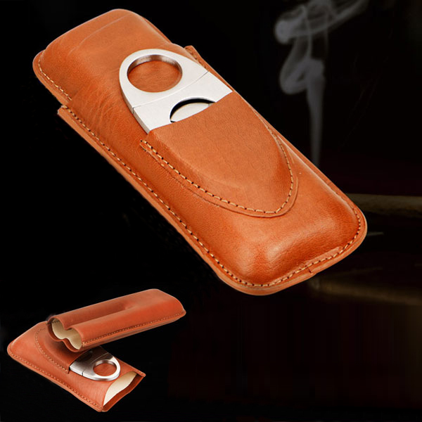 Set bao da Cigar, dao cắt Cigar Cohiba chất liệu da loại 2 điếu chính hãng - 0988 00 11 31