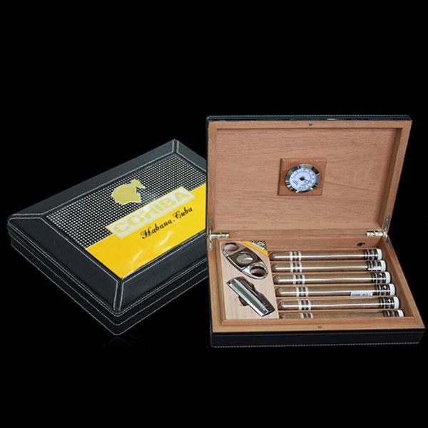 Set Hộp đựng Cigar, bật lửa Cigar, dao cắt Cigar Cohiba chất liệu da loại 6 điếu - 0988 00 11 31