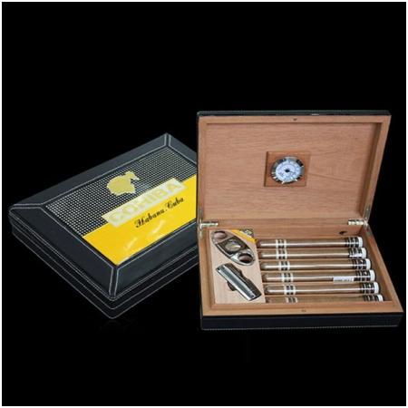 Set Hộp đựng Cigar (xì gà), bật lửa Cigar, dao cắt Cigar Cohiba chất liệu da loại 6 điếu - Mã SP: T12G