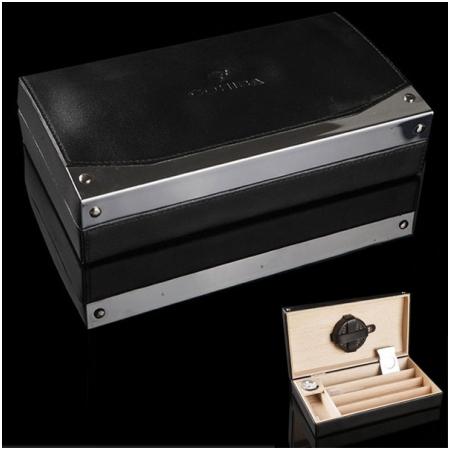Set Hộp bảo quản Cigar (xì gà), dao cắt Cigar Cohiba loại 4 điếu màu đen chính hãng - Mã SP: T026