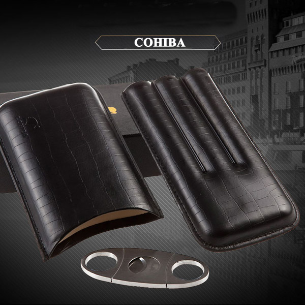 Set bao da đựng Cigar, dao cắt Cigar chính hãng Cohiba - 0988 00 11 31
