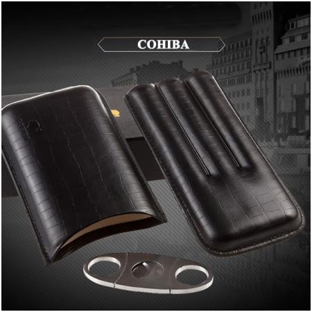 Set bao da đựng Cigar (xì gà), dao cắt Cigar chính hãng Cohiba - Mã SP: P307B