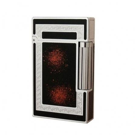 Bật lửa S.T.Dupont sơn mài màu đen nhũ đỏ viền trắng bạc - Mã SP: BLD053