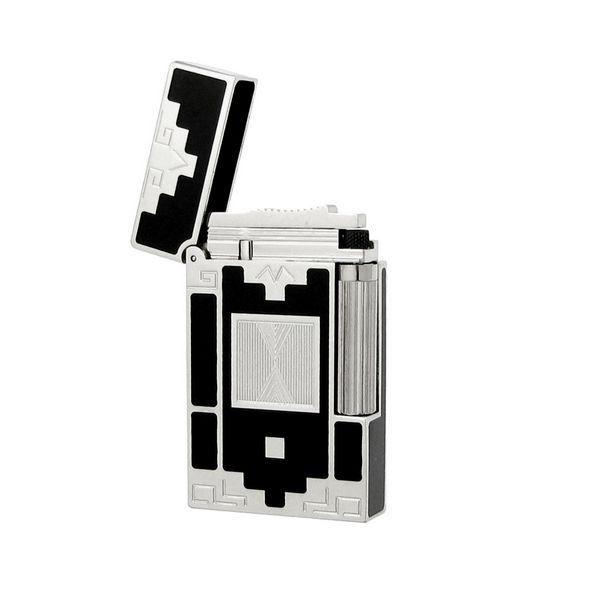 Bật lửa S.T.Dupont sơn mài màu đen viền trắng bạc hoa văn ô vuông - 0988 00 11 31
