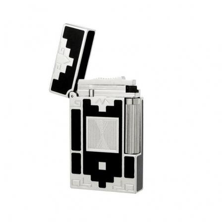 Bật lửa S.T.Dupont sơn mài màu đen viền trắng bạc hoa văn ô vuông - Mã SP: BLD055